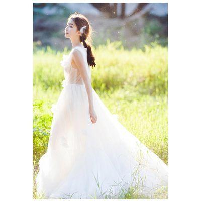 婚纱礼服2019新款拖尾新娘结婚韩版公主约梦幻女显瘦齐地轻婚纱【3月1日发完】