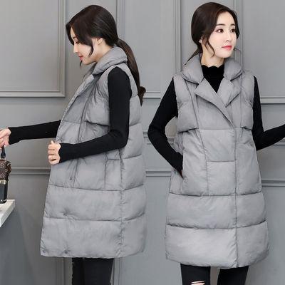 中长款棉马甲女秋冬韩版新款翻领显瘦大码加厚棉背心学生保暖外套