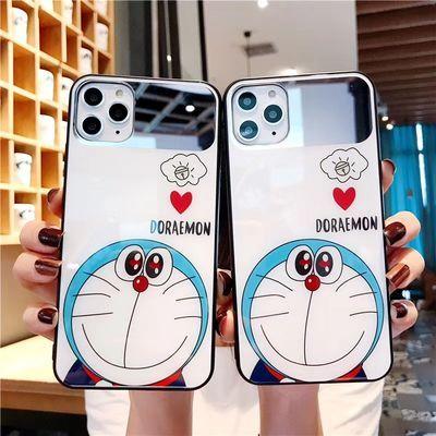苹果11/6s/7/8plus哆啦a梦镜面iPhoneXS Max/X/XR钢化手机壳玻璃