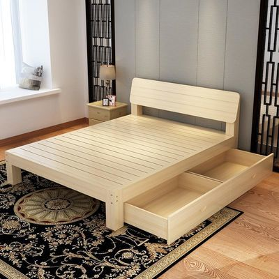 简易实木双人床主卧1.8米现代简约1.5米出租房床1米经济型单人床