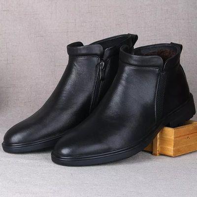 BrnoBani冬季马丁靴男中帮休闲皮鞋男真皮英伦短靴男高帮皮鞋加绒