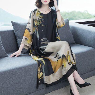 中老年真丝连衣裙夏大码2020春季新款女装大牌气质宽松显瘦桑蚕丝