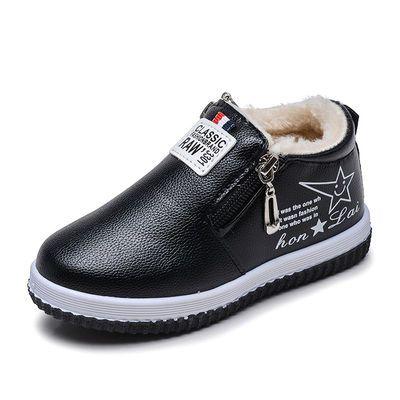 2019新款男女童加绒保暖雪地靴3-11岁儿童棉靴防滑拉链长毛休闲靴