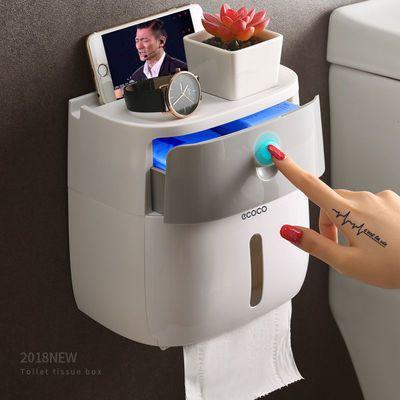 爆款卫生间纸巾盒厕所卫生纸置物架厕纸盒免打孔防水卷纸筒创意抽