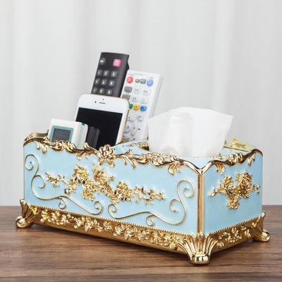 热销欧式抽纸盒客厅茶几多功能遥控器收纳盒创意纸巾盒收纳分格抽