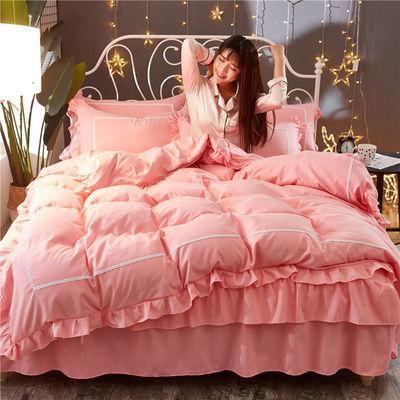 热销韩版公主四件套床裙款床上用品床单被套磨毛四季可用床罩三4