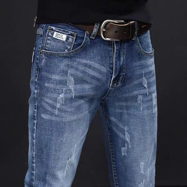 热卖新款春季新款牛仔裤男士弹力修身小脚裤中青年休闲百搭潮流韩