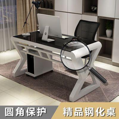热销电脑桌台式家用简约现代经济型书桌钢化玻璃学习办公桌游戏电
