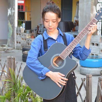 热销森杰41寸民谣吉他初学者练习琴男生女生吉他送初学自学教程包