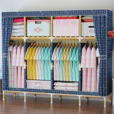 热销简易衣柜小号加粗实木布衣柜收纳架塑料单双人衣橱宿舍衣架收