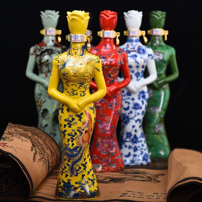 中国风旗袍装美人酒陶瓷瓶收藏酒500ml酱香白酒