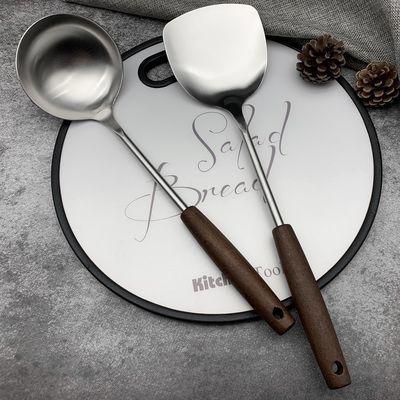 热销不锈钢锅铲加厚家用厨房用具木柄铲勺厨具套装炒菜铲子汤勺粥