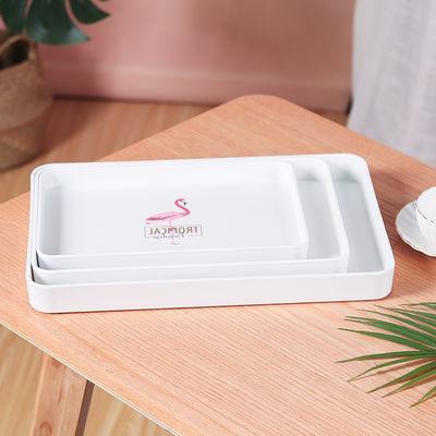 爆款欧式密胺水杯托盘长方形北欧茶盘塑料创意现代简约水果盘家用