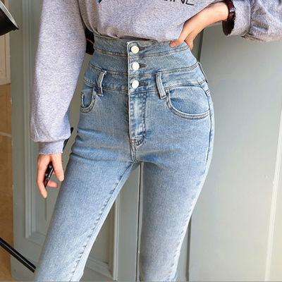 浅蓝色牛仔裤女高腰显高显瘦2019秋季新款紧身小脚裤子九分铅笔裤