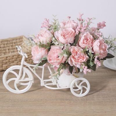 热销客厅绢花干花束塑料假花仿真花车套装饰品家居盆栽小摆件室内
