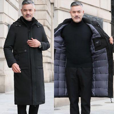 爸爸冬装加长外套加厚款冬季男装中年棉袄过膝连帽棉服老年人棉衣