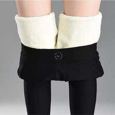 大码羊羔绒高弹力保暖裤女秋冬加绒加厚高腰休闲打底裤大码棉裤