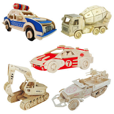 3D立体木制拼图中小学生手工木质儿童益智玩具汽车工程车拼装模型