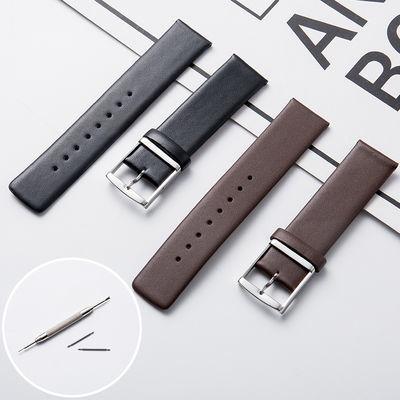 美康汇 代用dw华为天梭真皮手表带男女士超薄ck针扣牛皮手表链