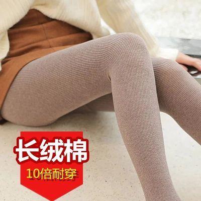 秋冬季打底裤女外穿棉质时尚秋裤高腰压力显瘦竖条纹一体连裤袜子