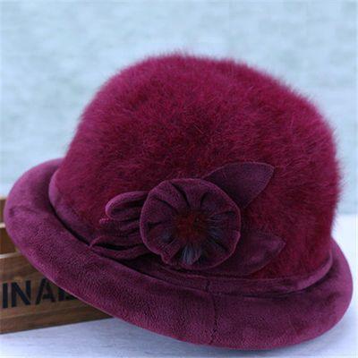 新款老年人帽子女士冬季奶奶兔毛盆帽中老年加绒保暖棉帽老人妈妈主图