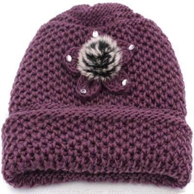 冬天老太太保暖帽老年人加绒毛线帽针织套头帽冬季护耳老人女帽子
