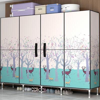 铝合金衣柜 全铝 简易粗加固开门式折叠组装布艺双人家用全钢架挂