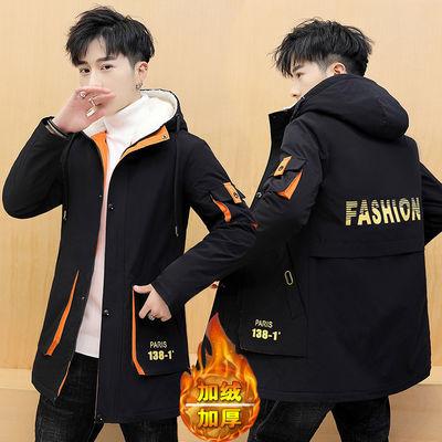 冬季棉衣男士新款韩版中长款棉服青少年连帽加绒袄子加厚外套男装