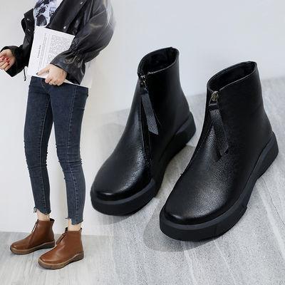 冬季靴子女加绒平底侧拉链马丁靴英伦风女厚底及踝靴切尔西短靴女