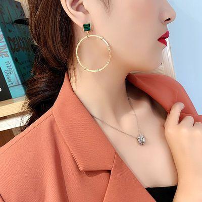 925银针孔雀石耳环女复古绿大圈韩版个性网红耳坠欧美时尚耳饰品
