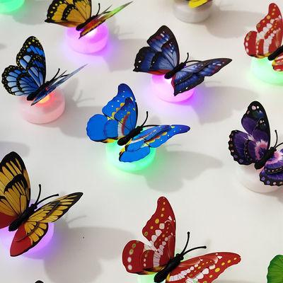 发光七彩灯立体夜光蝴蝶墙壁上装饰品客厅卧室婚房创意墙贴壁纸贴