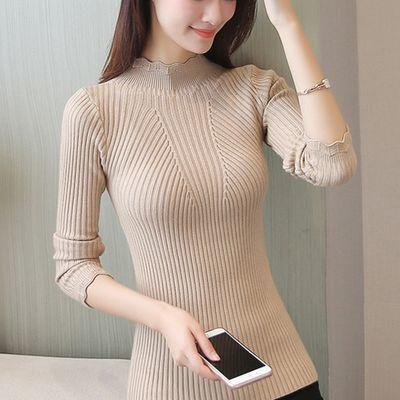 加厚高弹力秋冬新款女装毛衣女韩版白色百搭套头修身针织打底衫女