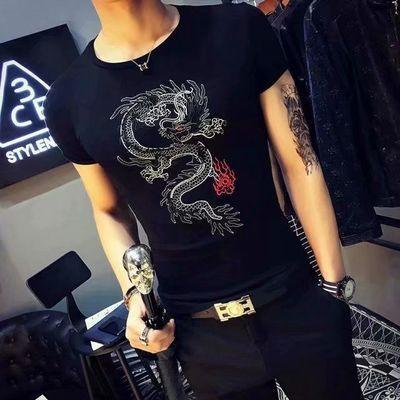 男士t恤短袖韩版个性潮流夏装体��紧身款男装半袖2019夏季新款潮t