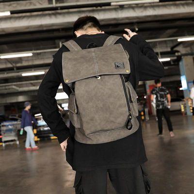 新款男士双肩包商务休闲电脑皮质背包旅游旅行包简约时尚潮流书包