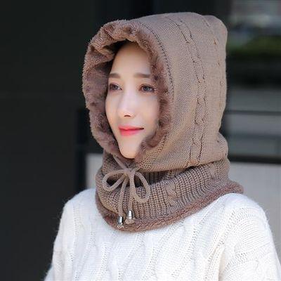 帽子女秋冬季加绒毛线保暖套头帽女士骑车防风护脖颈连体包头帽子