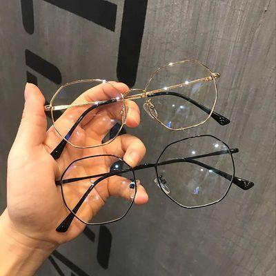 韩版文艺多边形眼睛素颜镜女显瘦脸复古金属眼睛架潮近视眼镜框男