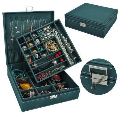 绒布多色可选双层带锁大正方珠宝耳饰项链珠宝收纳首饰盒