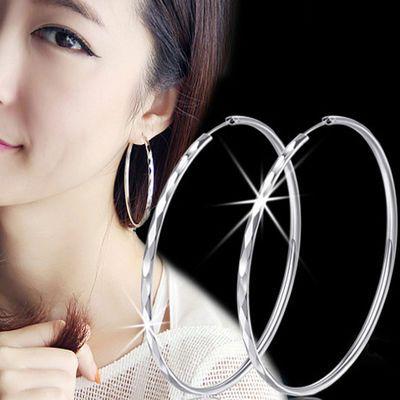 银耳环 S990纯银夸张大耳圈女个性气质日韩国 长款圆环圆圈圈耳环