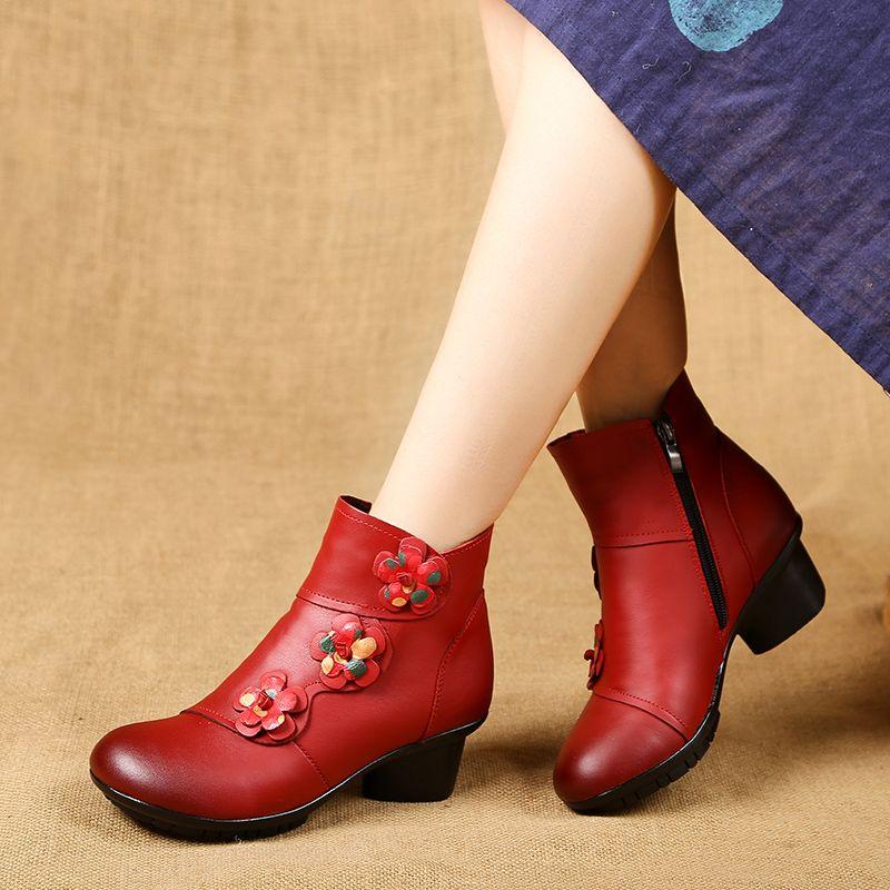 秋冬加绒保暖女靴真皮妈妈靴子中跟粗跟圆头大码棉靴手工加厚短靴