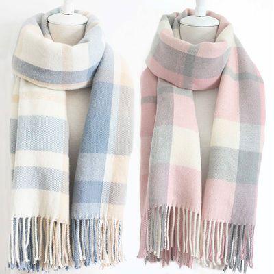 围巾女冬天韩版百搭新款学生格子毛线仿羊绒披肩冬季女士加厚围脖