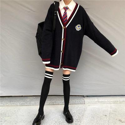 V领网红女学生韩版宽松学院风显瘦毛衣针织衫外套女开衫+宽松衬衣【3月6日发完】