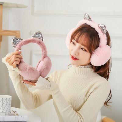 猫耳可折叠耳套保暖女秋冬季可爱耳罩仿兔毛保暖耳包男女耳捂耳暖