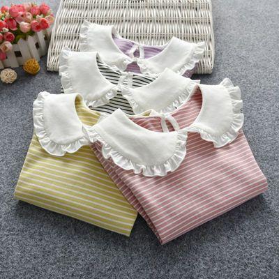 女童打底衫新款春秋娃娃领翻领女宝宝长袖T恤衫婴儿上衣儿童装