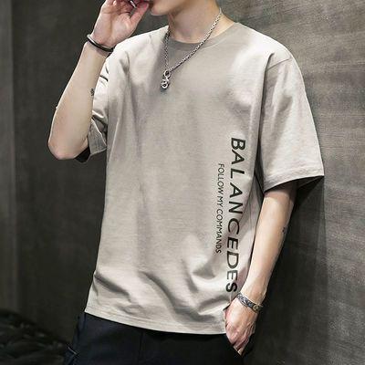 男士短袖t恤2020新款夏季潮流潮牌宽松打底衫衣服体恤大码青年男