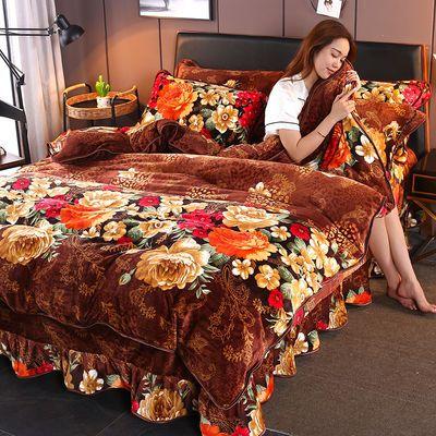 加厚床裙款金雕绒四件套法莱保暖被套冬季加绒珊瑚绒法兰绒四件套