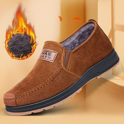 老北京布鞋男棉鞋冬季加绒加厚保暖防滑布鞋柔软一脚蹬懒人棉布鞋