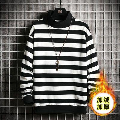 高品质95棉秋季长袖t恤男潮流高领条纹宽松上衣男生青少年打底衫