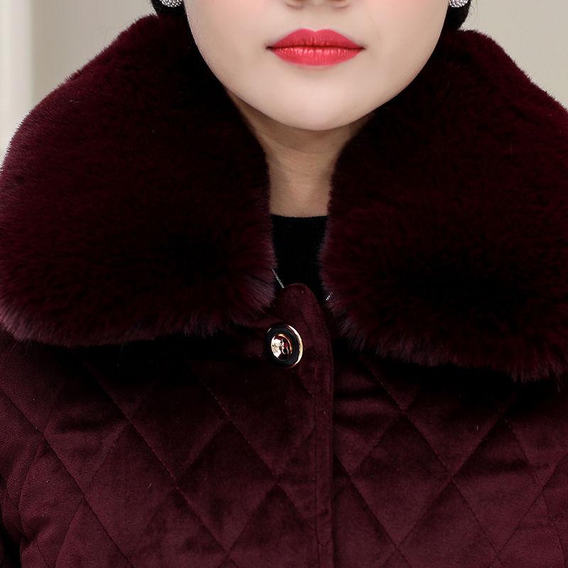 中老年女装加绒加厚棉衣妈妈装冬季中长款棉服宽松大码保暖棉袄女【2月8日发完】