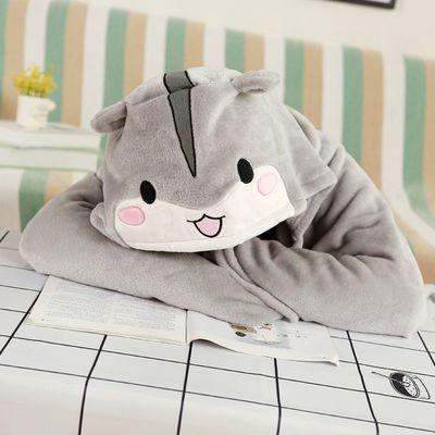 93153/仓小鼠法兰绒连帽披肩学生办公室空调懒人毯