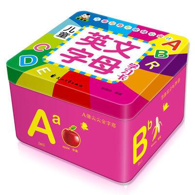 【铁盒PVC厚防水撕不烂】78张字母英语单词卡片宝宝幼儿童早教卡